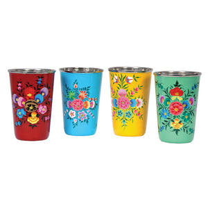 Hand-Painted Tumblers Set Of 4