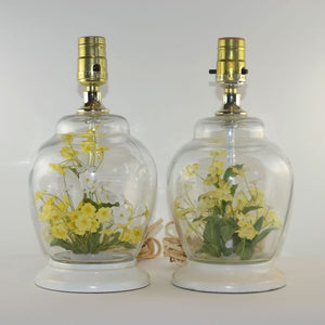 Lamps With Faux Flowers Pair