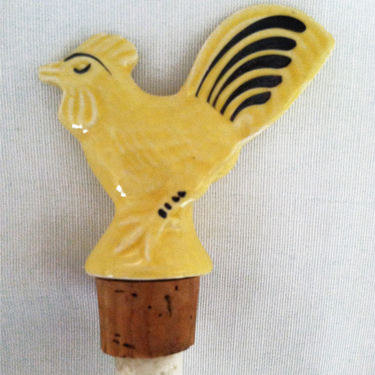 Yellow Rooster Bottle Stopper