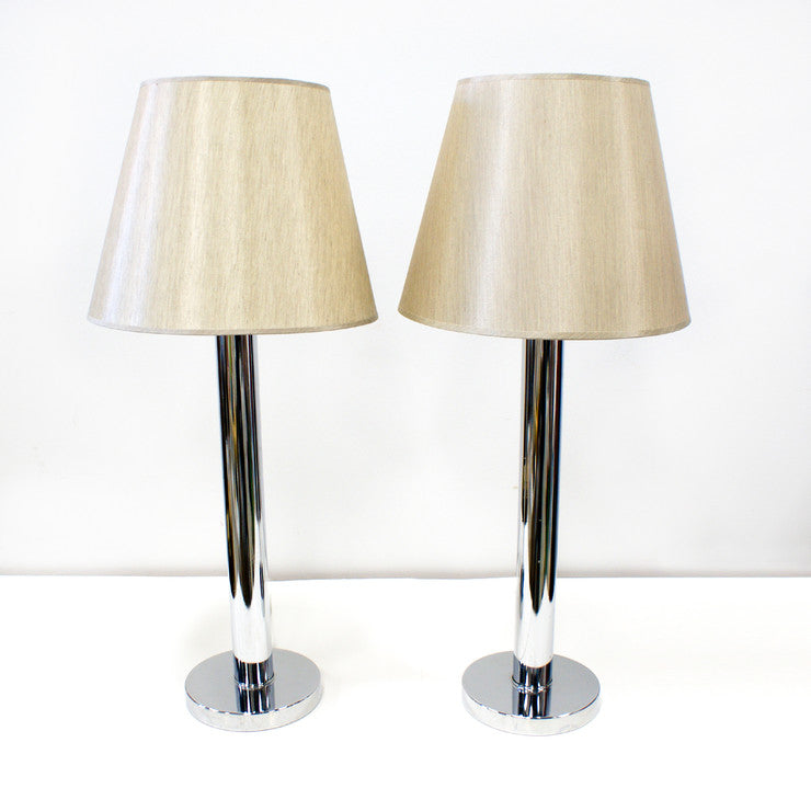 70s Chrome Pole Table Lamps Pair