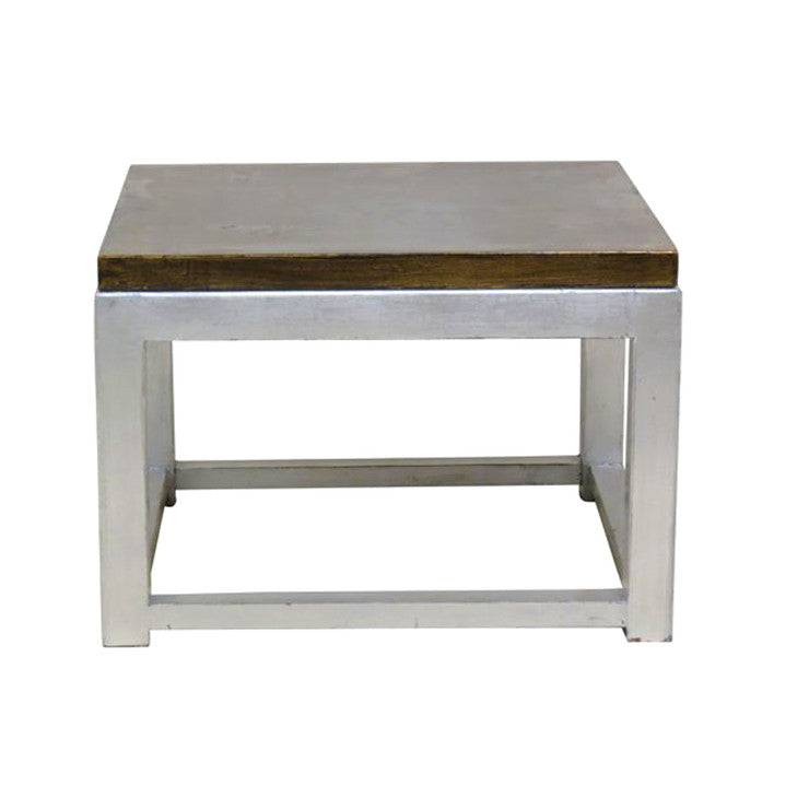 Floral End Table Silver & Gold