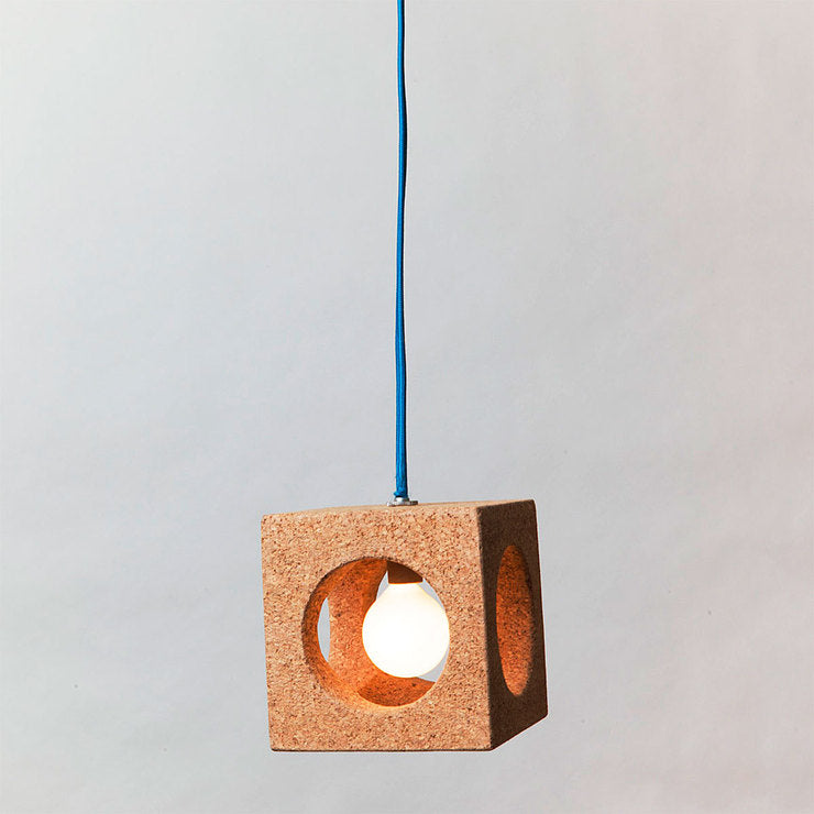 Cube Light With Fabric Cord Blue