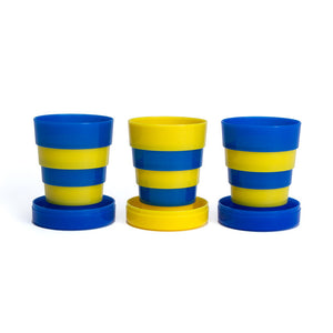 Collapsible Cup 3pk Yellow/Blue