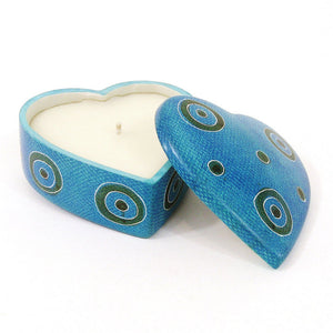 Heart Soapstone Candle Blue