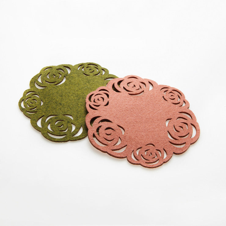Bottle Coasters Moss/Pink