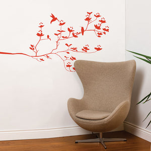 Birds And Buds Decal 32x55 Red
