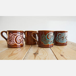 Bird Motif Coffee Mugs Set Of 4