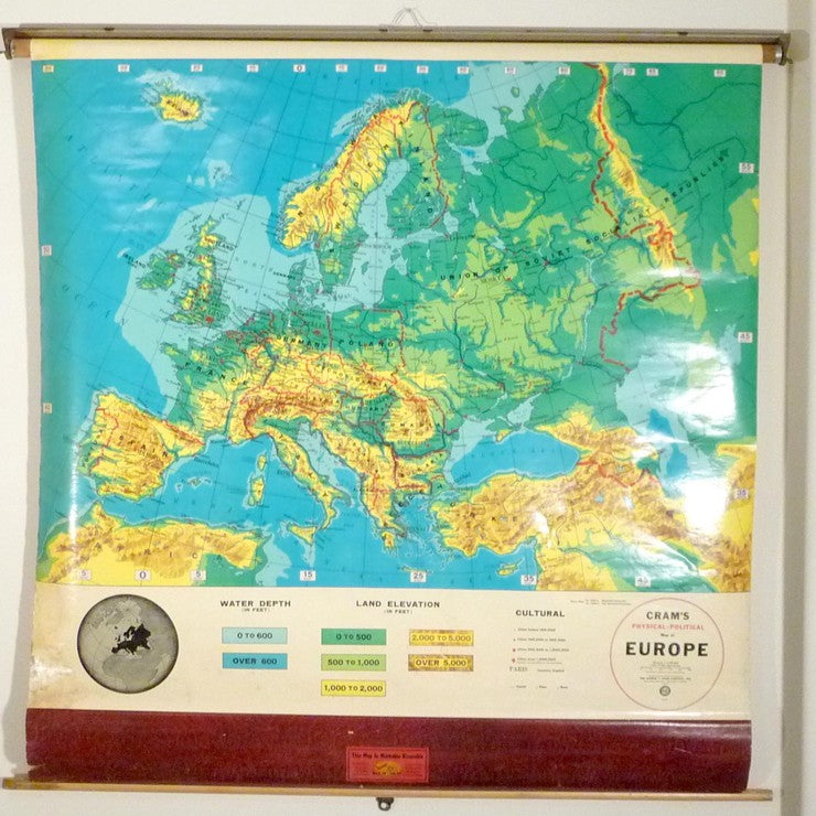 1950s Schoolhouse Map Of Europe