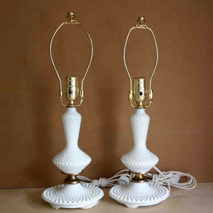 Hobnail Milk Glass Lamp Pair