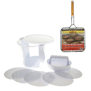 Hamburger Basket And Press Set
