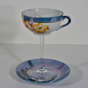 Teacup Glass Floral & Saucer IV