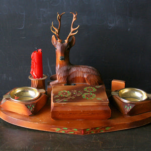 Folk Art Ashtray Cigarette Set