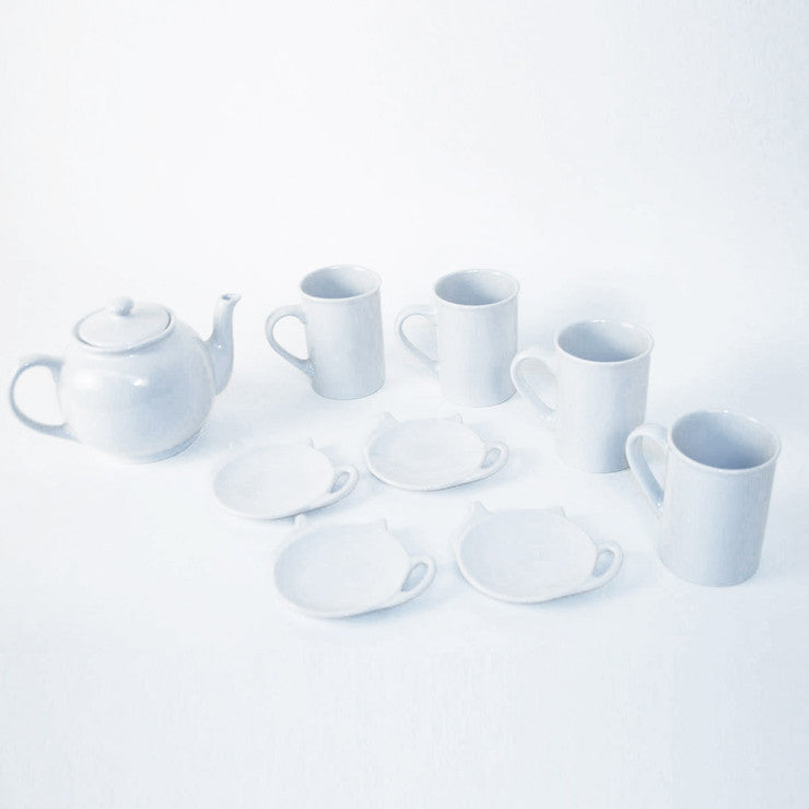 Nine Piece Teapot Set White