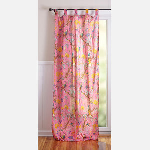 Bird Cotton Curtain Pink