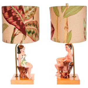 DeLee Figure Lamps Pair