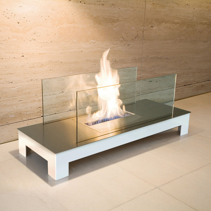 Floor Flame Stainless White