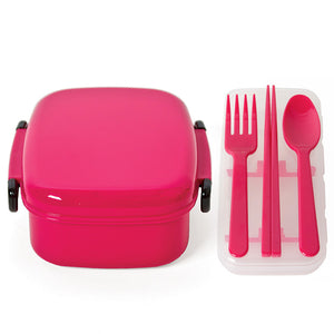 Bento Box And Cutlery Set Pink