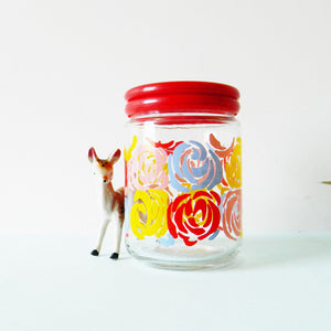 Glass Canister With Retro Roses