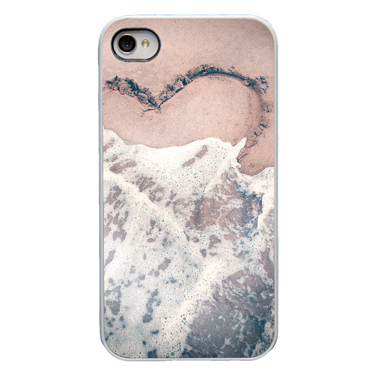 Heart In Sand iPhone 4 Case Wht