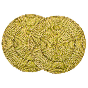 Rattan Charger Lime 2 Piece