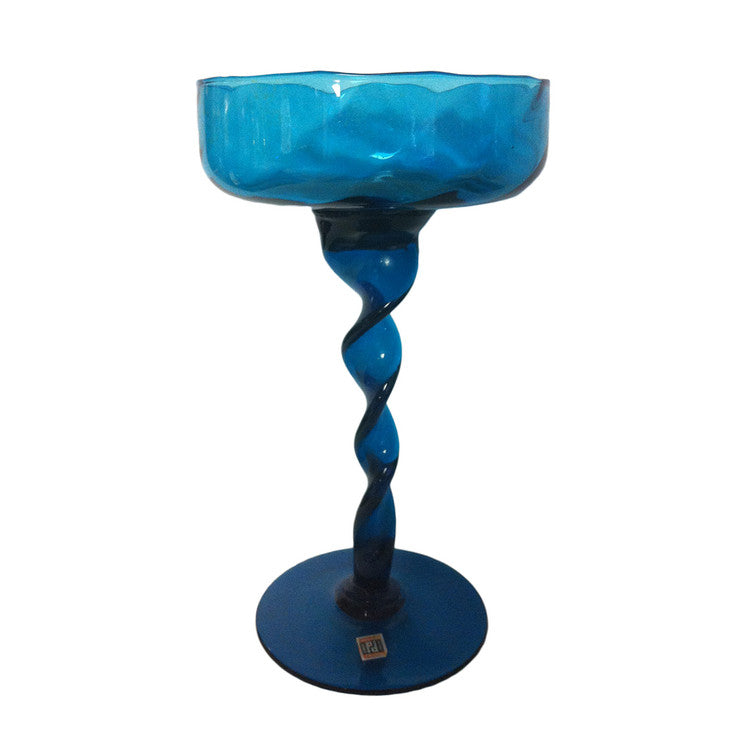 Twisted Ribbon Compote Blue