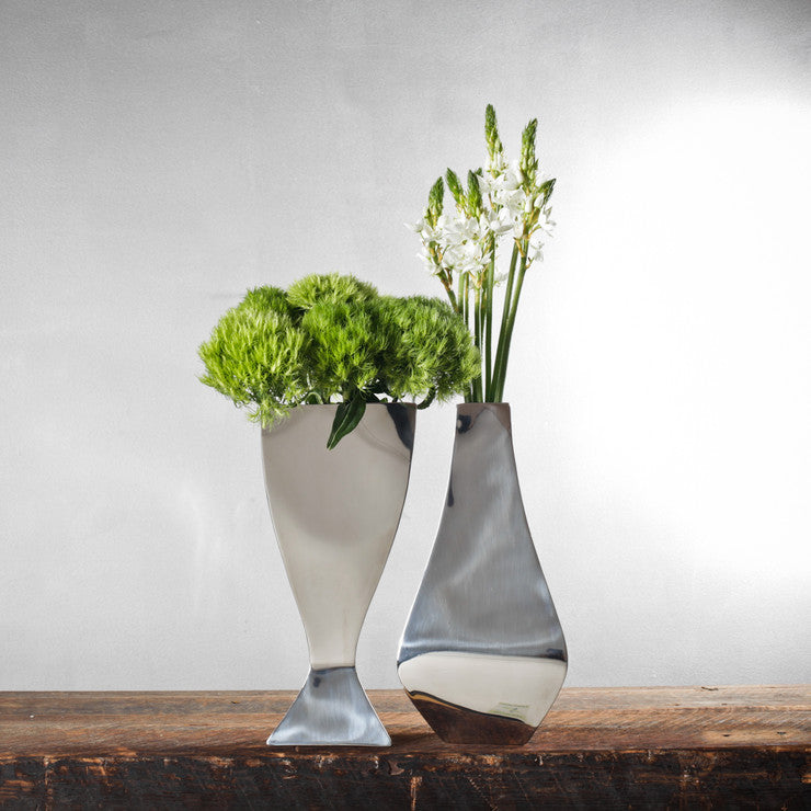 Aram Modernist Chrome Vases