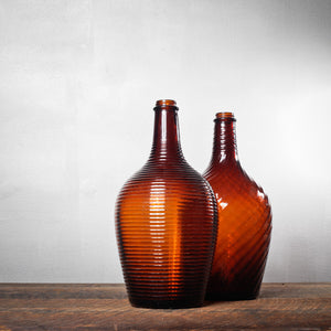 Large Brown Bottles Pair