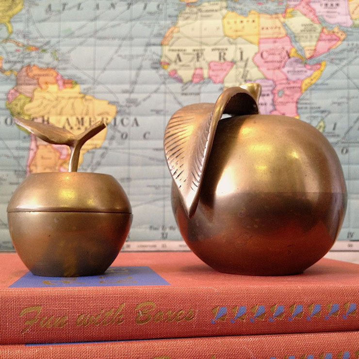 '70s Brass Apple Pair
