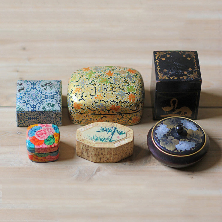 Asian Covered Boxes Set Of 6