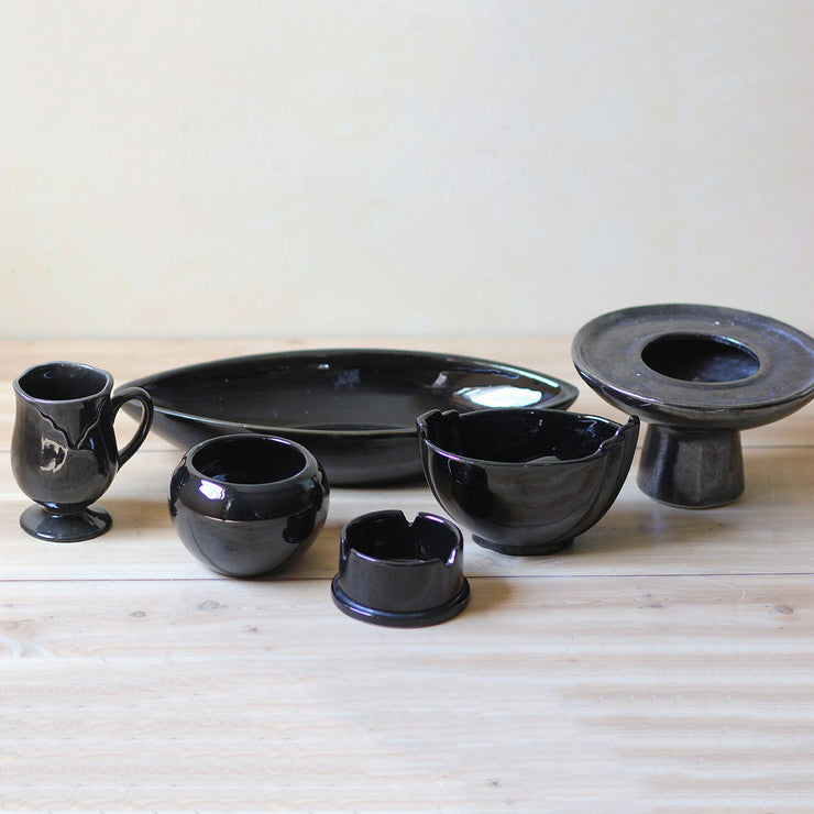 Black Glazed Vases And Bowls 6pc