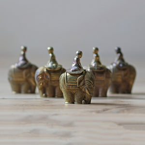Brass Elephant Snuff Bottles 5pc