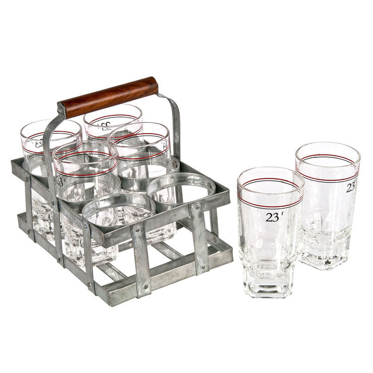 French 23f Wine Glasses & Caddy