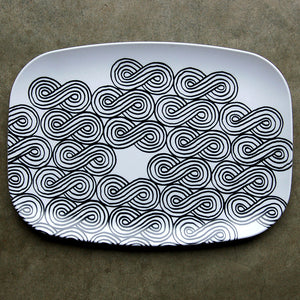 Clouds Textile Tray Black/White