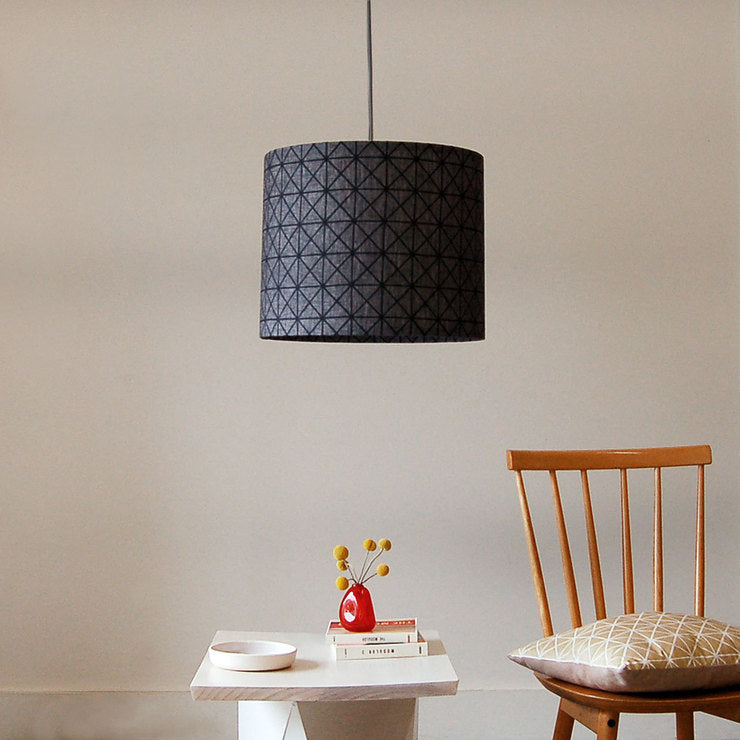 Grid Pendant Gray Black Cord