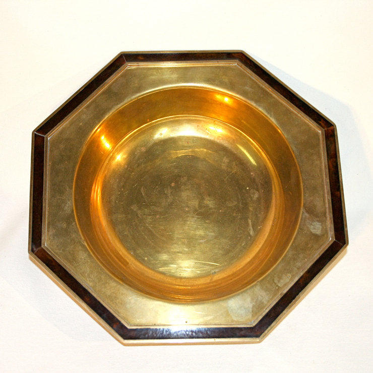 Brass Tray With Wood Inlay