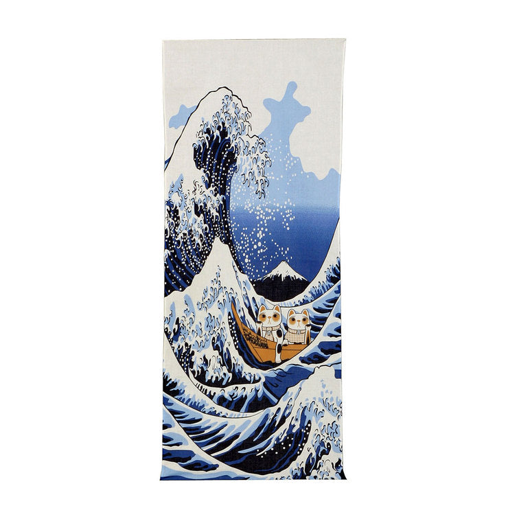 Cats On the Great Wave Curtain