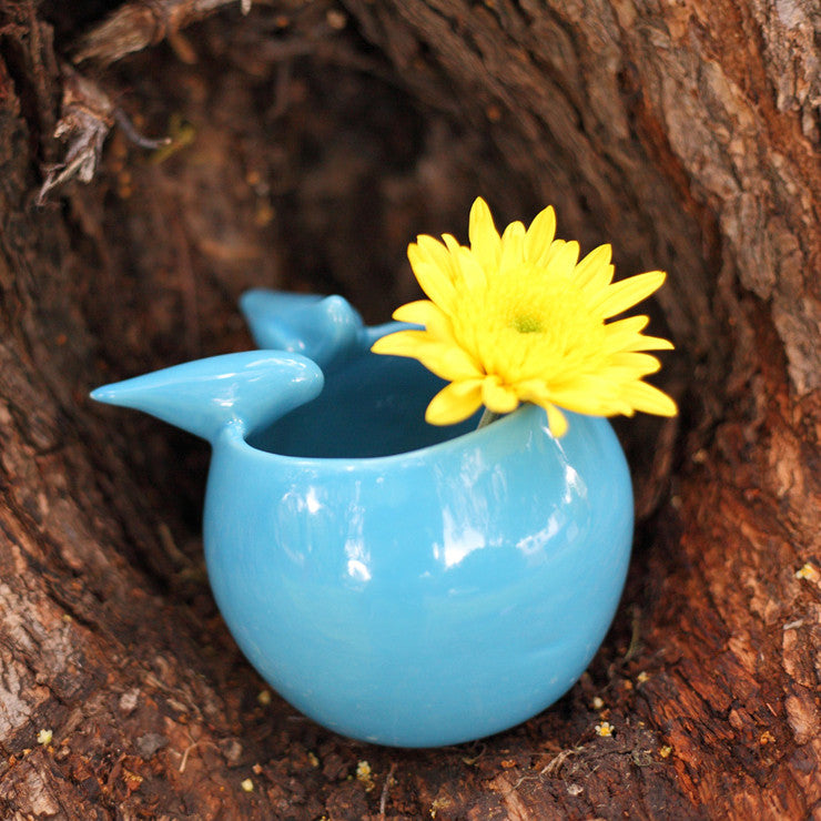 Birds Flower Pot Blue Small
