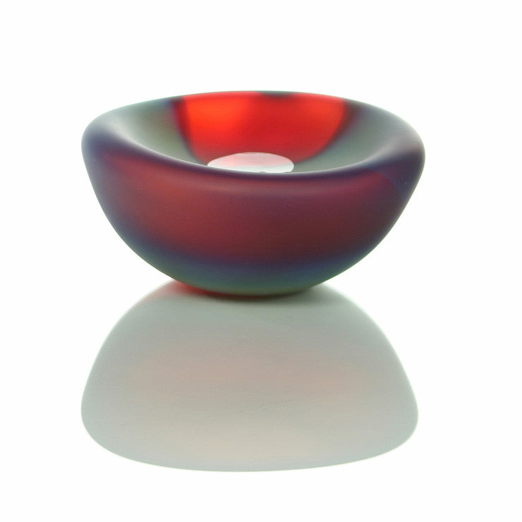 Cell Bowl Lg Etched Cherry Turq