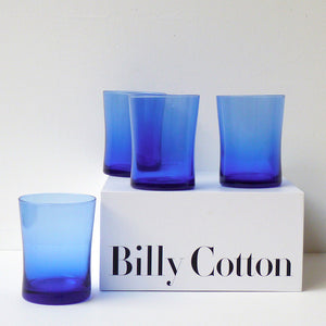 Curved Wine Glass Blue 4pc Set