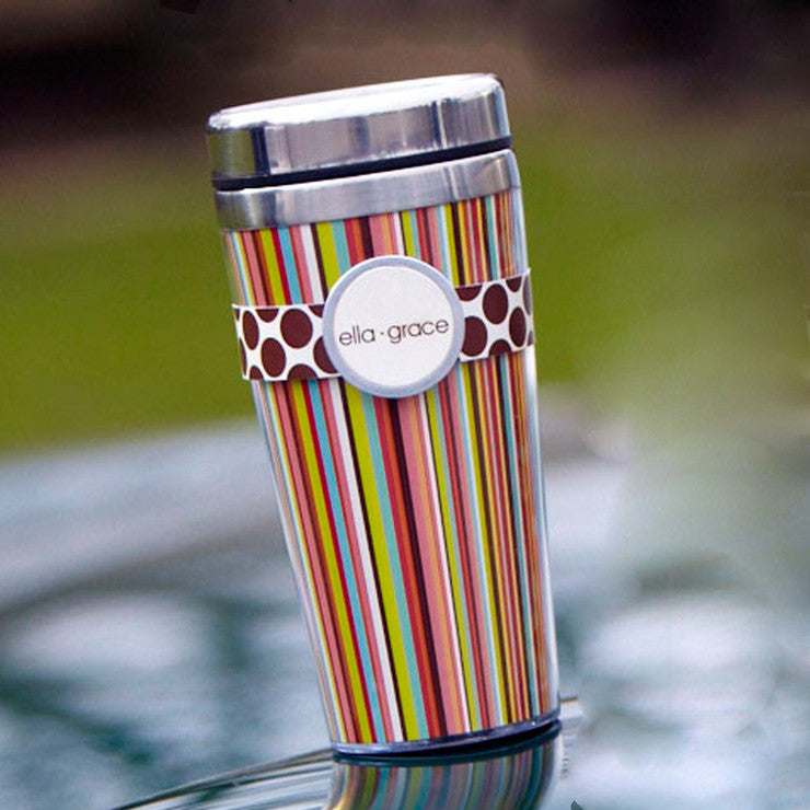 Insulated Travel Mug Striped