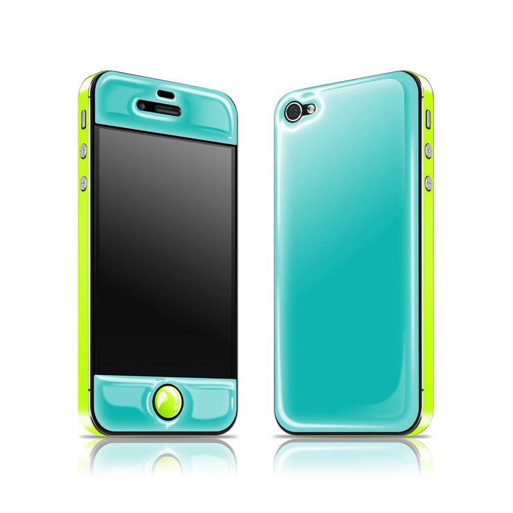 iPhone 4/4S Glow Gel Teal Yellow