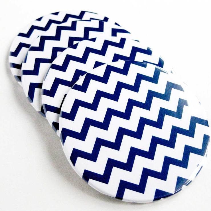 Chevron Coasters Navy Set Of 6