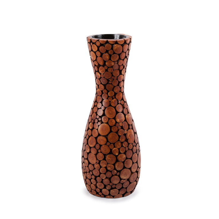 "Dark Wood Chip Vase 16"" Natural"