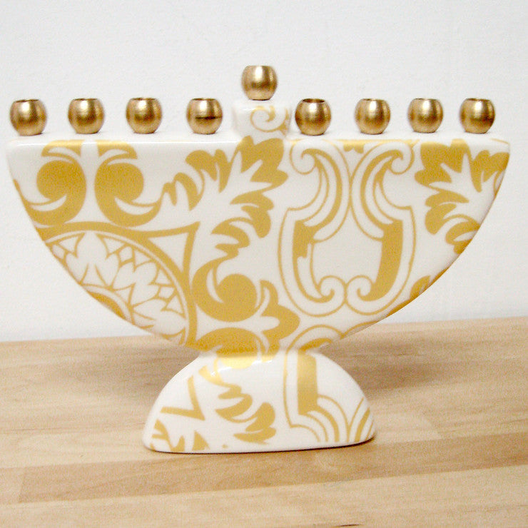 Damask Menorah Yellow
