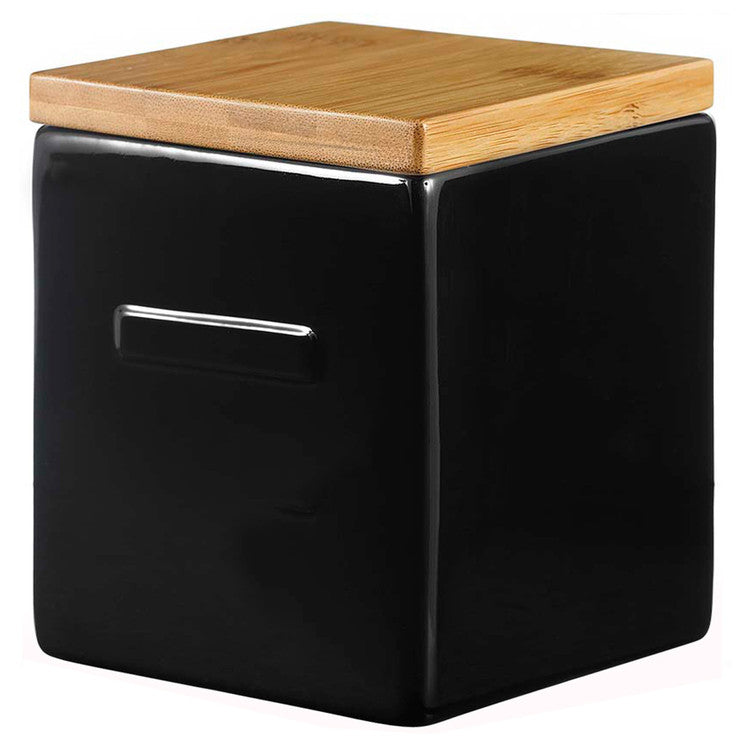 Box Black With Bamboo Lid