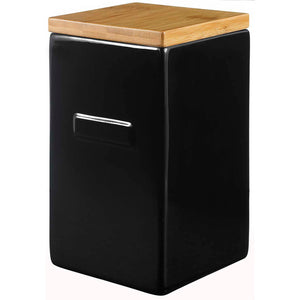 Box Black With Bamboo Lid High