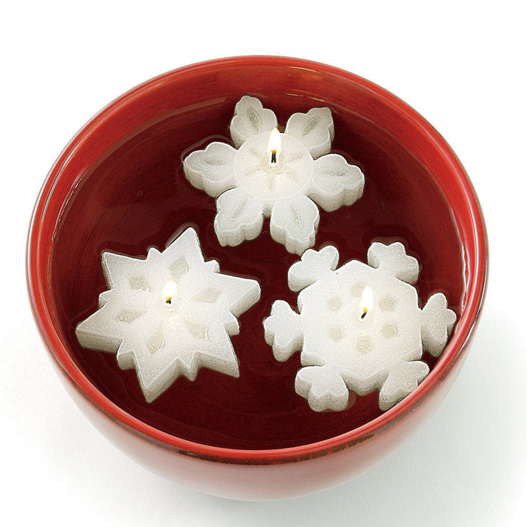 Floating Snowflake Candles Set