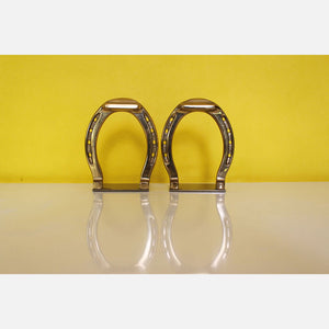 Brass Horse Shoe Bookends