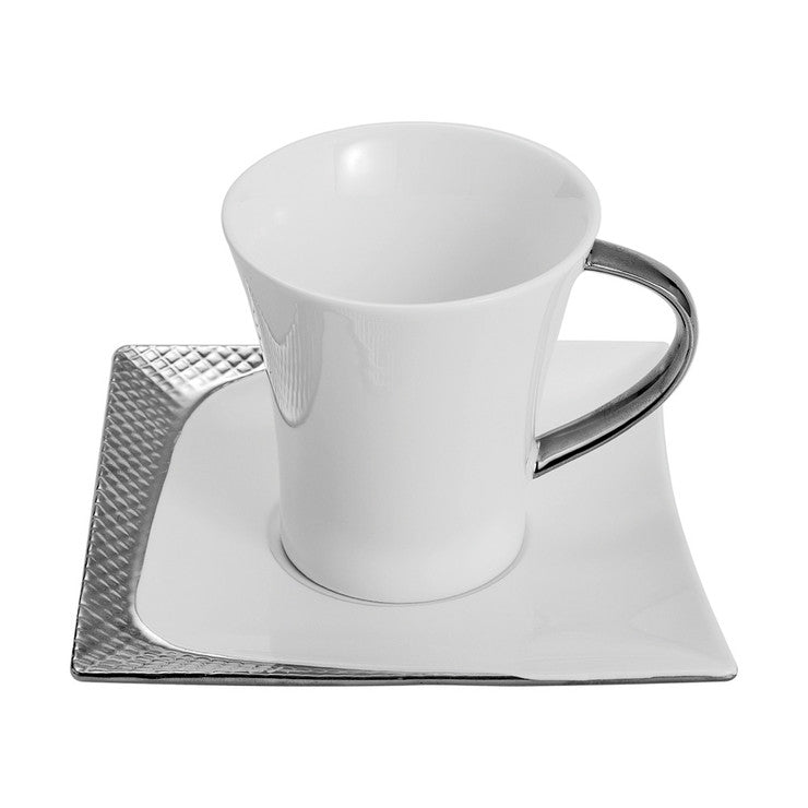 Cup & Square Saucer Set Of 2