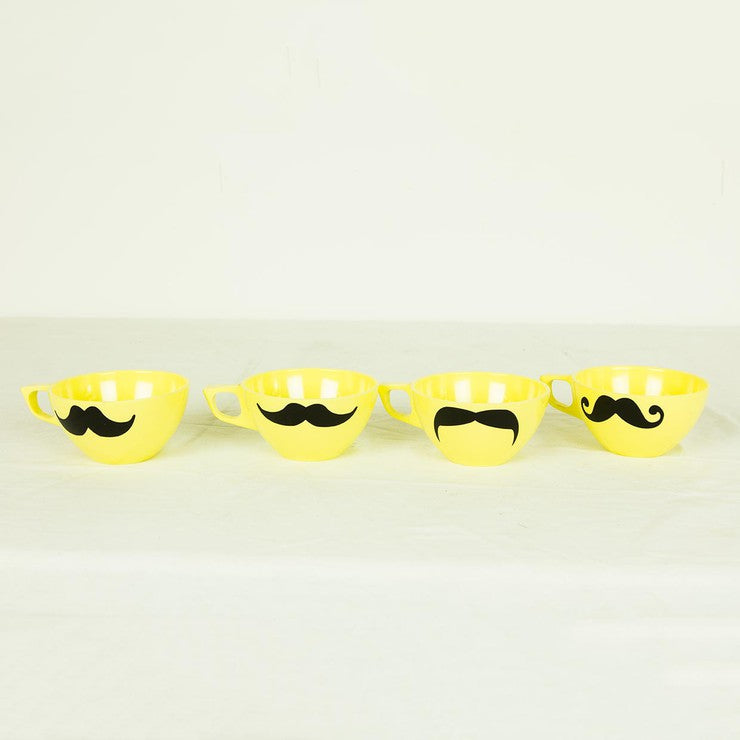 Moustache Cups Yellow Set Of 4